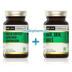 Промо: Life Formula / Зелено кафе + Гарциния + Хром за отслабване 90капс + Коса, Кожа, Нокти 60капс