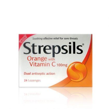 Strepsils Orange+Vit C / Стрепсилс Портокал+Витамин Ц за бързо и ефективно облекчаване на болно гърло 24 табл за смучене