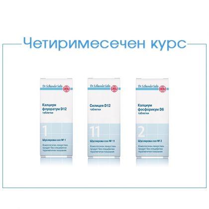 Четиримесечен курс за изграждане на костната тъкан при остеопороза със солите на д-р Шуслер 1, 2, 11