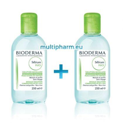 Bioderma Sebium H2O /Биодерма мицеларна вода за мазна и проблемна кожа 250ml+250ml Подарък