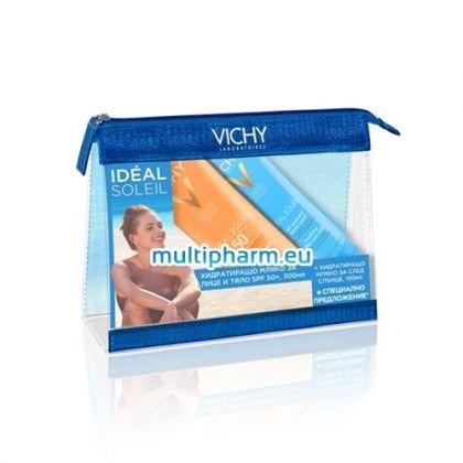 Промо: Vichy Ideal Soleil / Виши Хидратиращо слънцезащитно мляко за лице и тяло SPF50+ 300ml +Виши Хидратиращо мляко за след слънце 100ml