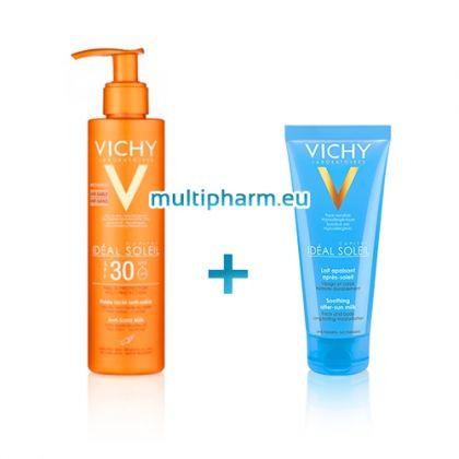 Промо: Vichy Ideal Soleil / Виши Слънцезащитно мляко за лице и тяло Анти-пясък SPF30 200ml +Виши Хидратиращо мляко след слънце 100ml