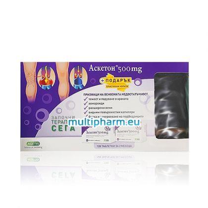 Промо: Аскетон Комплексно лечение на венозна недостатъчност 2 опаковки по 64табл + Подарък еластични чорапи
